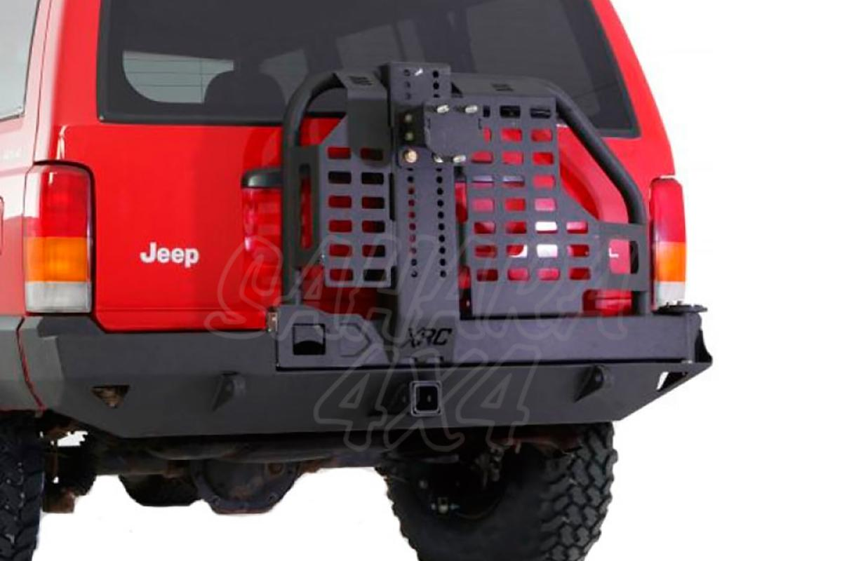 Rear Bumper Smittybilt Xrc Swing Away Tire Carrier Hi Lift Jeep White Sahara Lifted With And Led Tail Lights Cherokee Xj