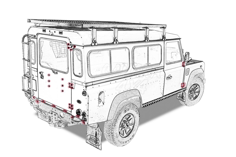 Genuine Land Rover Series o defender Bisagra Pernos Con Tuercas /& Arandelas