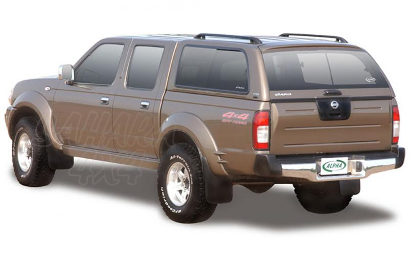 HardTop ALPHA en fibra, con ventanas para Nissan Navara D-22 2005-2008 - Para Doble cabina