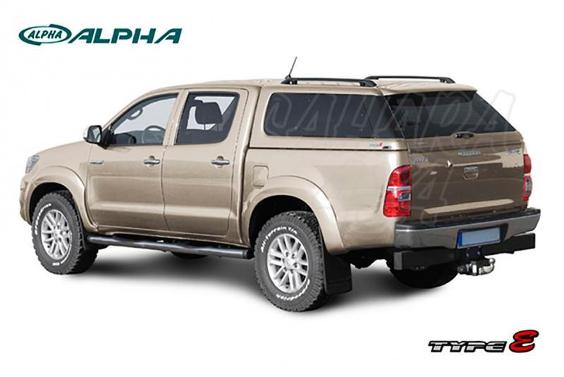 Hardtop ALPHA TYPE-E+ en fibra, con ventanas, imprimación para Toyota Hilux Revo 2016- - Para doble cabina