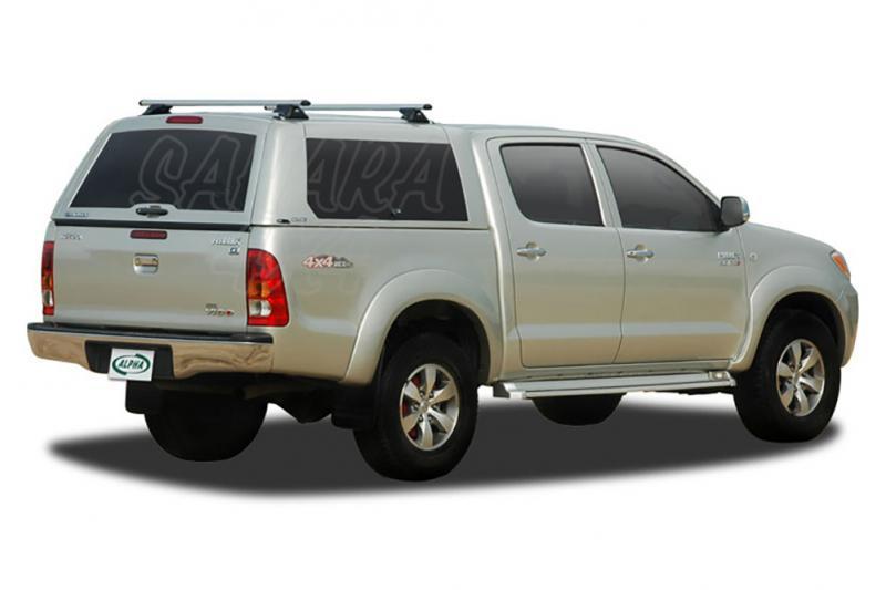 HardTop ALPHA CME en fibra, con portones laterales elevables para Toyota Hilux Vigo 2005-2016