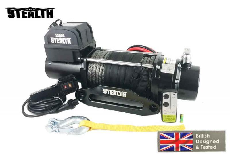 Cabrestante STEALTH 13000Lbs 5897Kg 12v (cable sintético) - CERTIFICADO CEE CABLE DE FIBRA 10mm x 30 metros Diseñado y testeado en Inglaterra.