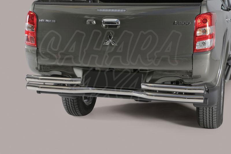 Protector trasero en doble tubo inox Ø63mm. Tipo DBR para Mitsubishi L200 Triton/Fiat Fullback -