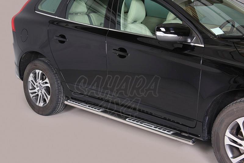 Pareja de estribos en tubo inox, sección oval, con pisantes. Tipo DSP para Volvo XC60 2008- -