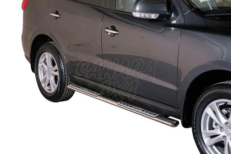 Estribos en tubo inox, sección oval, con pisantes. Tipo DSP para Hyundai Santa Fe 2006-2010 - (imagen no contra actual)