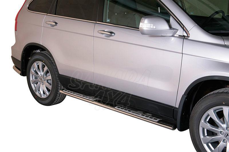 Pareja de estribos en tubo inox, sección oval, con pisantes. Tipo DSP para Honda CR-V 2010-2012 -