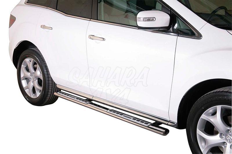Pareja de estribos en tubo inox, sección oval, con pisantes. Tipo DSP para Mazda CX-7 2010- -