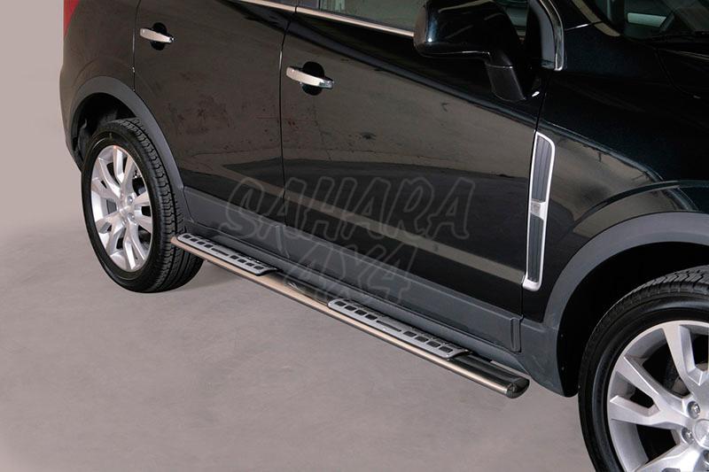 Pareja de estribos en tubo inox, sección oval, con pisantes. Tipo DSP para Opel Antara 2007-2011 - (Imagen no contra actual)