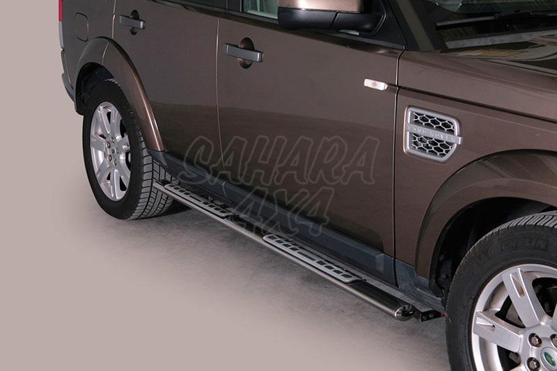 Pareja de estribos en tubo inox, sección oval, con pisantes. Tipo DSP para Land Rover Discovery