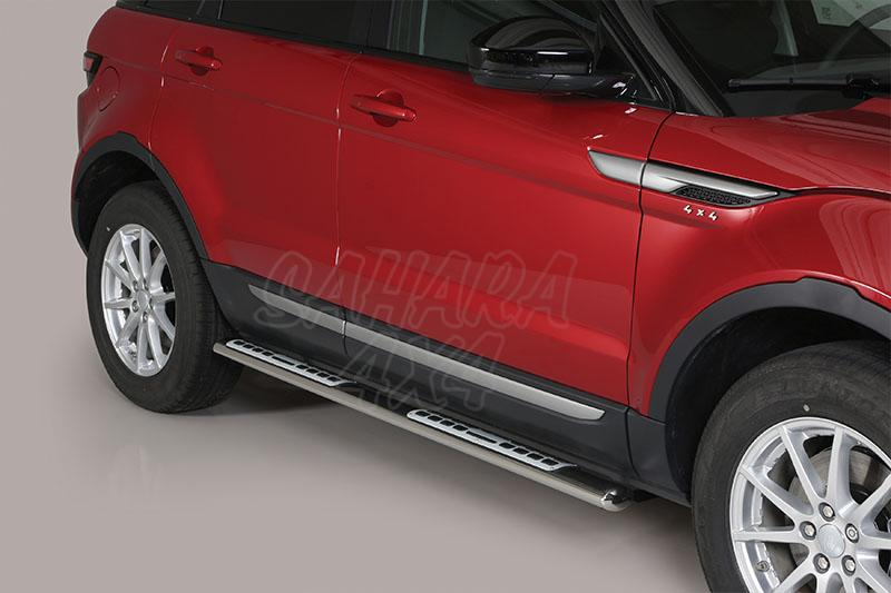 Pareja de estribos en tubo inox, sección oval, con pisantes. Tipo DSP para Range Rover Evoque 2011- -