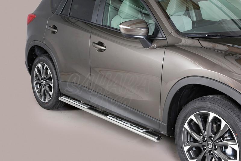 Pareja de estribos en tubo inox, sección oval, con pisantes. Tipo DSP para Mazda CX-5 2011-2015 - (Imagen no contra actual)