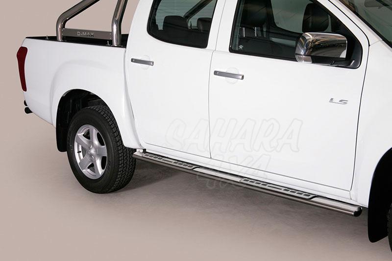 Estribos en tubo inox, sección oval, con pisantes. Tipo DSP para Isuzu D-Max 2012- (doble cabina) -