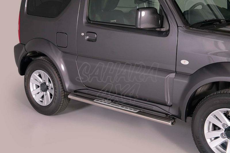 Pareja de estribos en tubo inox, sección oval, con pisantes. Tipo DSP para Suzuki Jimny 2012- -
