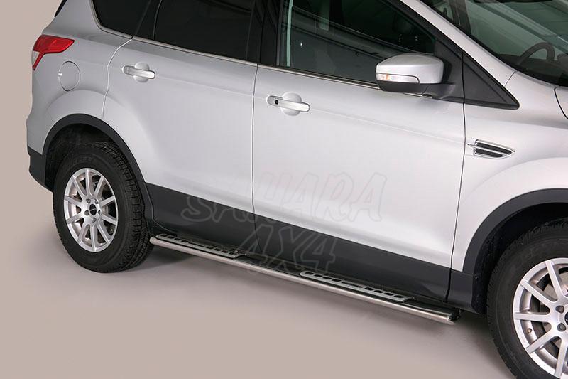 Pareja de estribos en tubo inox, sección oval, con pisantes. Tipo DSP para Ford Kuga 2008-2012 - (Imagen no contra actual)