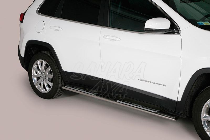 Pareja de estribos en tubo inox, sección oval, con pisantes. Tipo DSP para Jeep Cherokee 2014- -