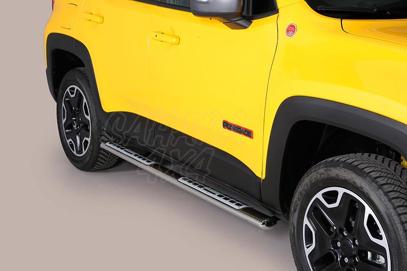 Pareja de estribos en tubo inox, sección oval, con pisantes. Tipo DSP para Jeep Renegade 2014- -