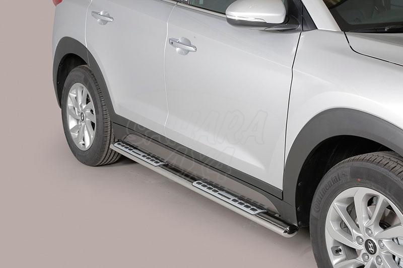 Pareja de estribos en tubo inox, sección oval, con pisantes. Tipo DSP para Hyundai Tucson 2004-2010 - (Imagen no contra actual)