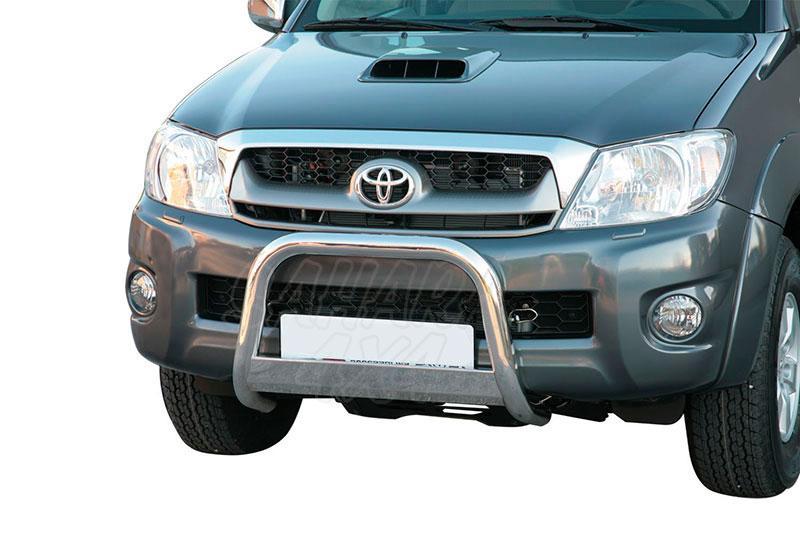 Defensa central inox Ø63mm con traviesa. Homologación CE para Toyota Hilux Vigo 2005-2010 -