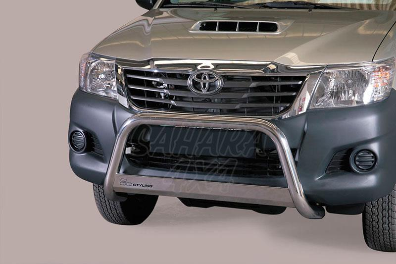 Defensa central inox Ø63mm con traviesa. Homologación CE para Toyota Hilux Vigo 2010-2016 -