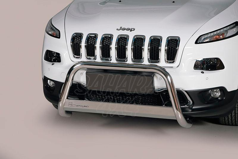 Defensa central inox Ø63mm con traviesa. Homologación CE para Jeep Cherokee 2014- -