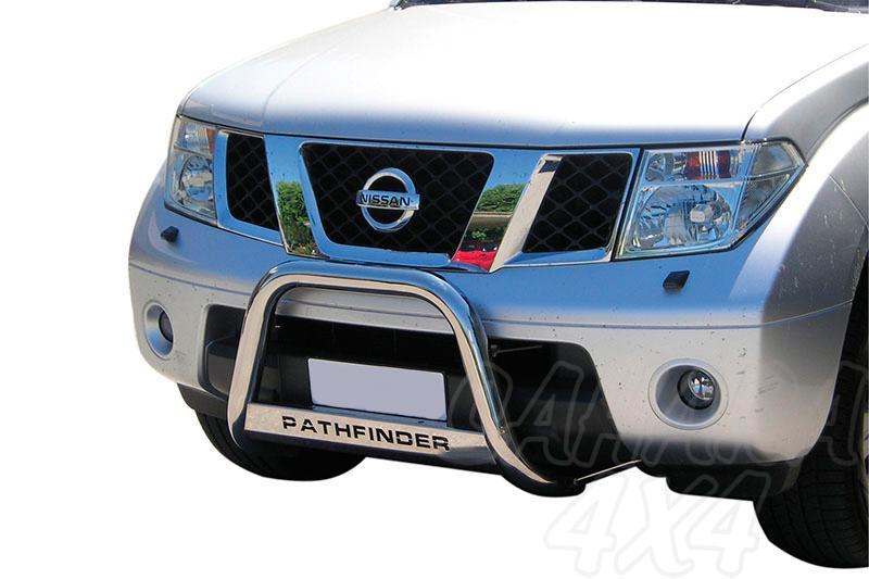 Defensa central inox Ø63mm con grabación. Homologación CE para Nissan Pathfinder 2005-2010 -