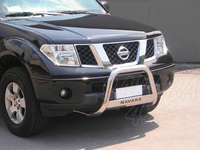 Defensa central inox Ø63mm con grabación. Homologación CE para Nissan Navara D40 2005-2010 -