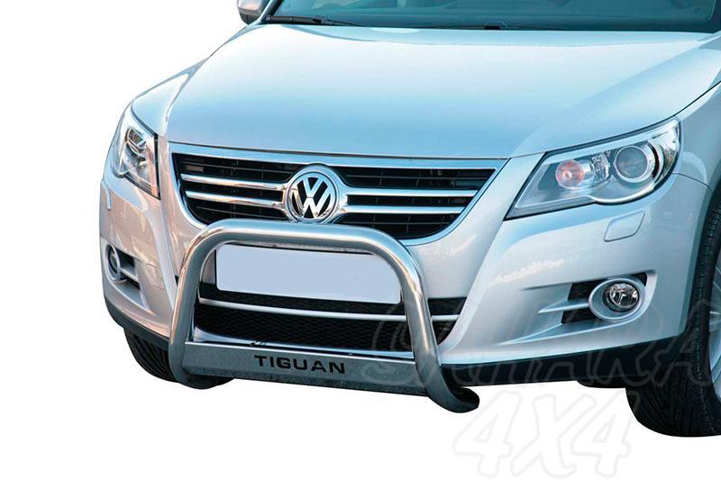 Defensa central inox Ø63mm con grabación. Homologación CE para Volkswagen Tiguan 2007-2011 - Para Sport&Style/Trend&Fun