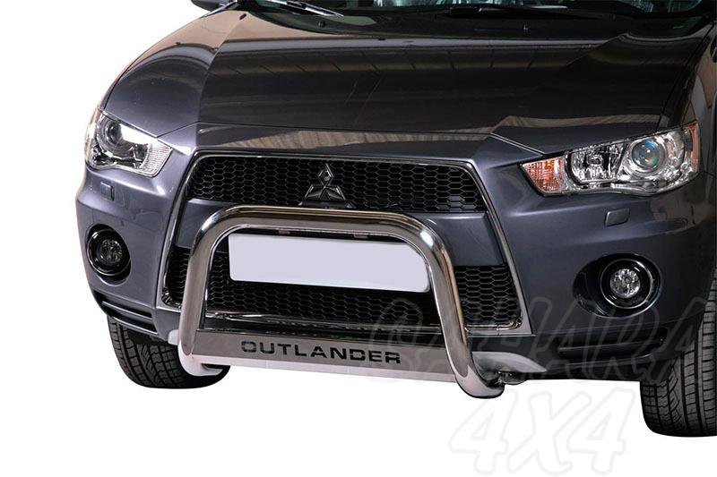Defensa central inox Ø63mm con grabación. Homologación CE para Mitsubishi Outlander  - Para Outlander 2010-2012