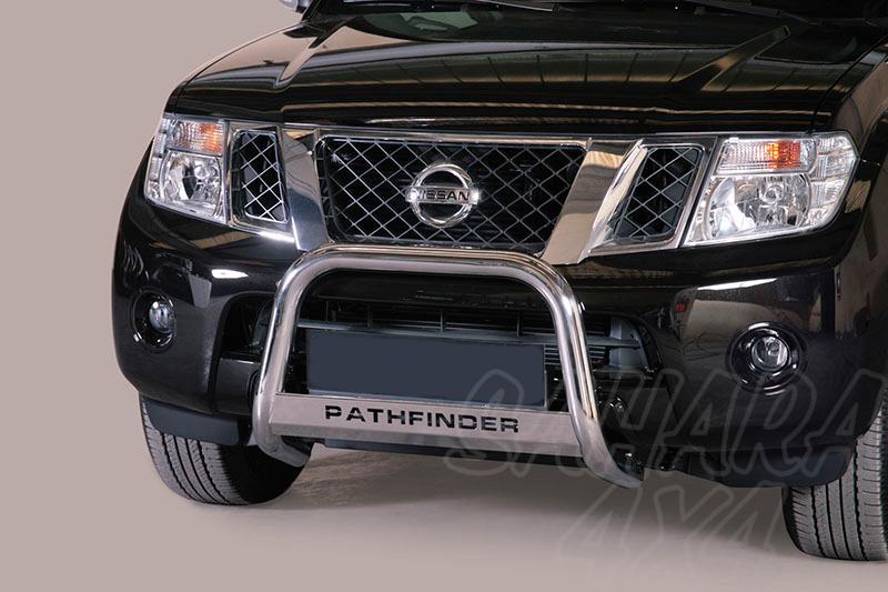 Defensa central inox Ø63mm con grabación. Homologación CE para Nissan Pathfinder 2010- -