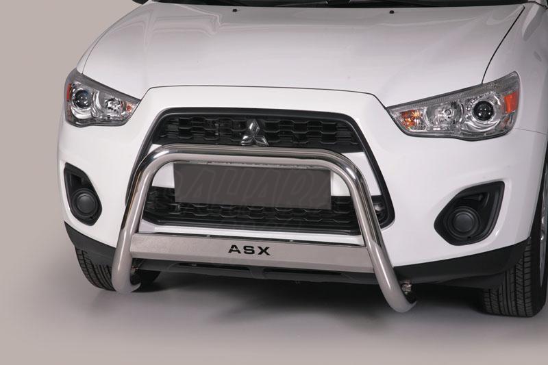 Defensa central inox Ø63mm con grabado para Mitsubishi ASX 2010- - Homologación CE.