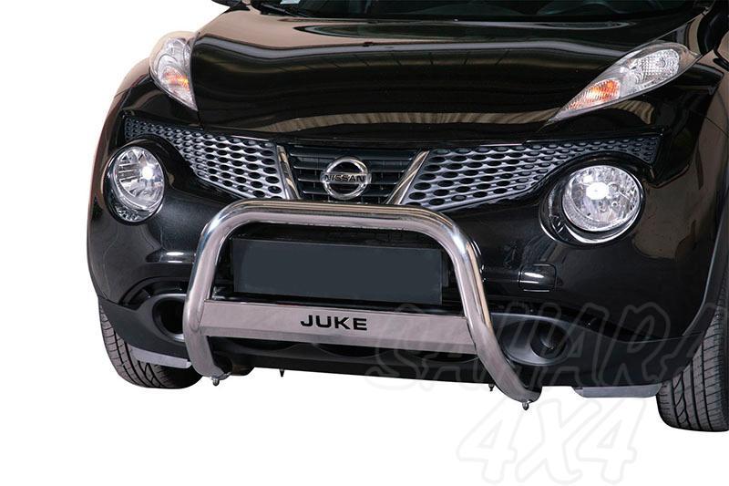 Defensa central inox Ø63mm con grabación. Homologación CE para Nissan Juke 2010- -