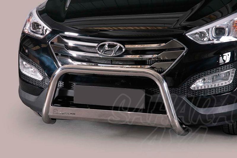 Defensa central inox Ø63mm con grabación. Homologación CE para Hyundai Santa Fe 2012- - (imagen no contra actual)
