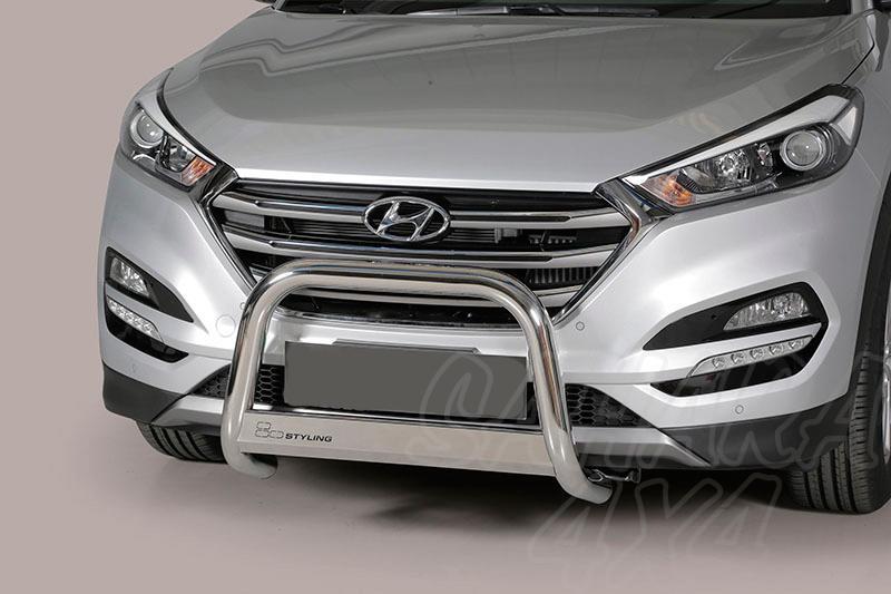 Defensa central inox Ø63mm con grabación. Homologación CE para Hyundai Tucson 2015- - (imagen no contra actual)