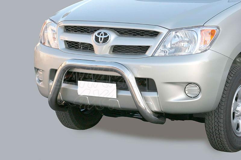 Defensa central inox Ø76mm sin traviesa. Homologación CE para Toyota Hilux Vigo 2005-2010 -