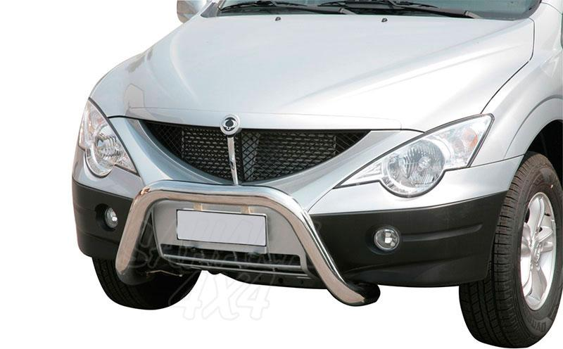 Defensa central inox Ø76mm sin traviesa. Homologació CE para SSangyong Actyon Sports 2006-2011 -