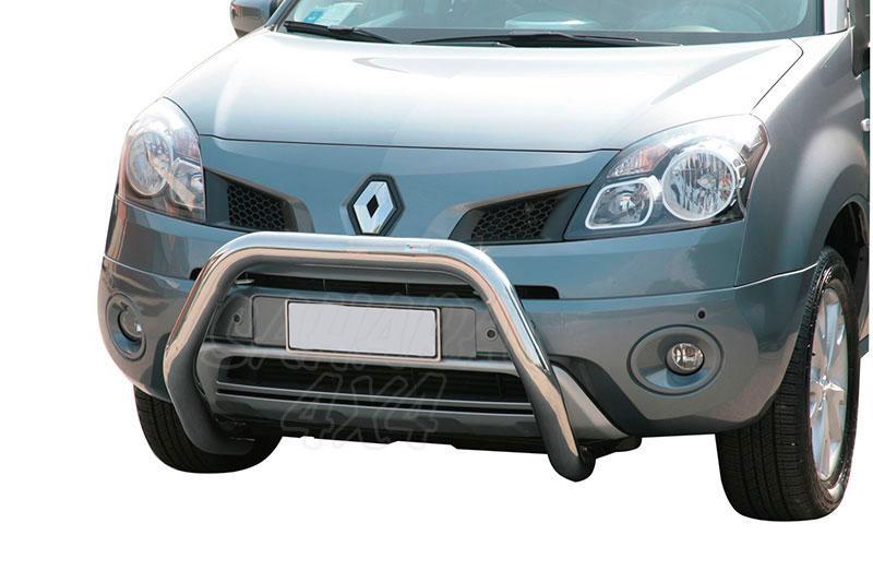 Defensa central inox Ø76mm sin traviesa. Homologación CE para Renault Koleos 2008-2011