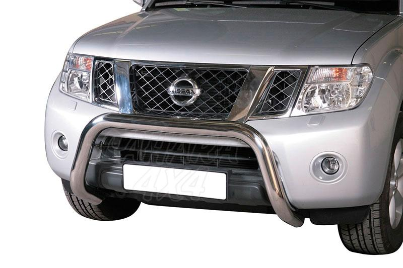 Defensa central inox Ø76mm sin traviesa. Homologación CE para Nissan Navara D40 V6 2010- -