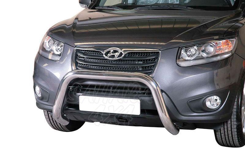 Defensa central inox Ø76mm sin traviesa. Homologación CE para Hyundai Santa Fe 2010-2012 -