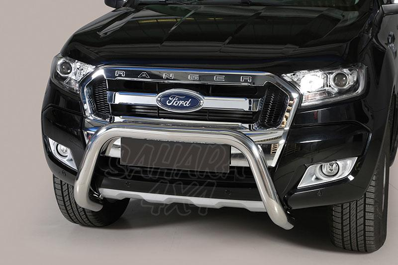 Defensa central inox Ø76mm sin traviesa. Homologación CE  para Ford Ranger 2012- - (compatible modelos 2012 y 2016)