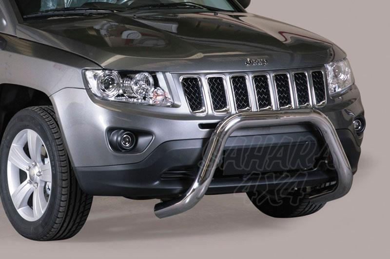Defensa central inox Ø76mm sin traviesa. Homologación CE para Jeep Compass 2011- -