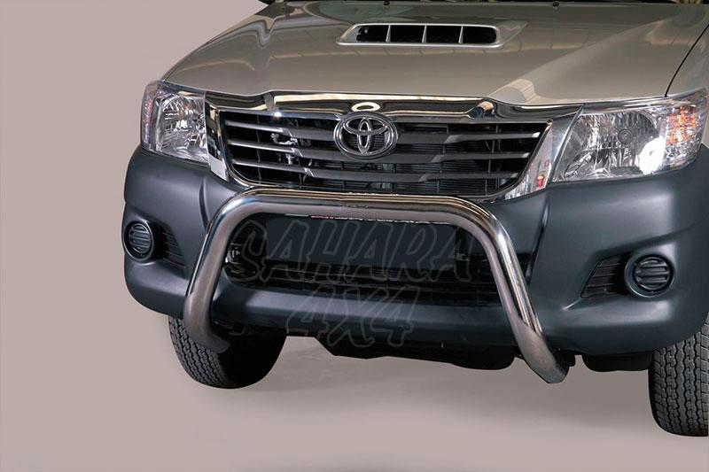 Defensa central inox Ø76mm sin traviesa. Homologación CE para Toyota Hilux Vigo 2010-2016 -