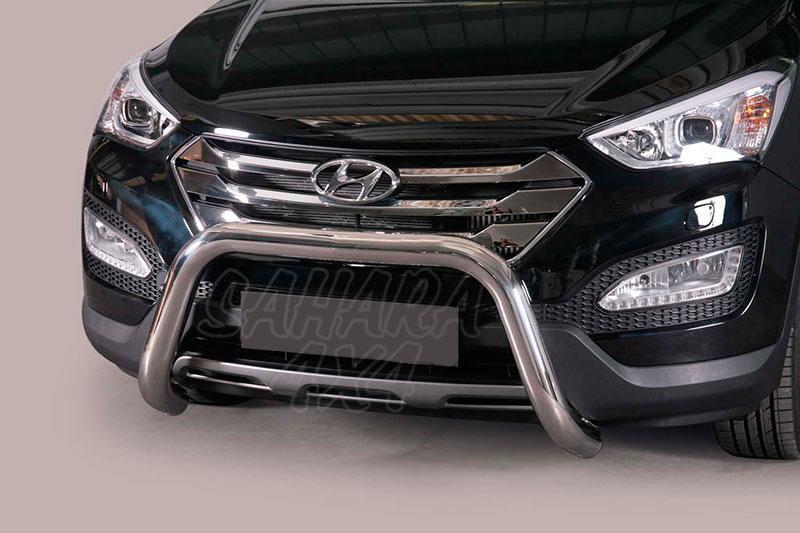 Defensa central inox Ø76mm sin traviesa. Homologación CE para Hyundai Santa Fe 2012- -
