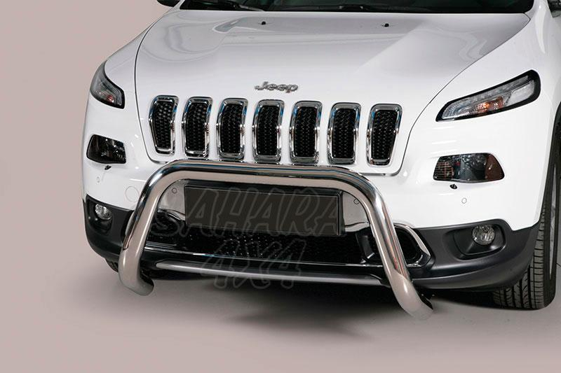 Defensa central inox Ø76mm sin traviesa. Homologación CE para Jeep Cherokee 2014- -