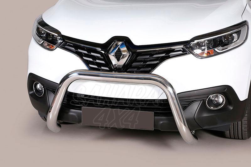 Defensa central inox Ø76mm sin traviesa. Homologación CE para Renault Kadjar 2015- -