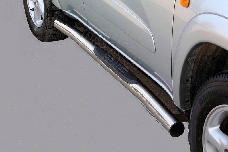 Pareja de estribos en tubo inox Ø76mm, con pisantes para Toyota Rav4 2000-2005 - Para 5 puertas