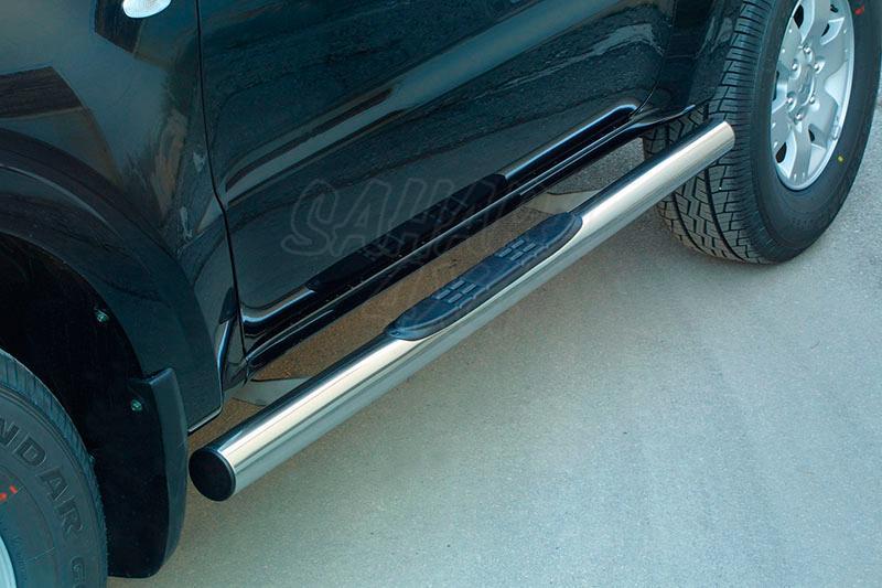 Pareja de estribos en tubo inox Ø76mm, con pisantes para Mitsubishi Montero V60 (5p) 2000-2006 -