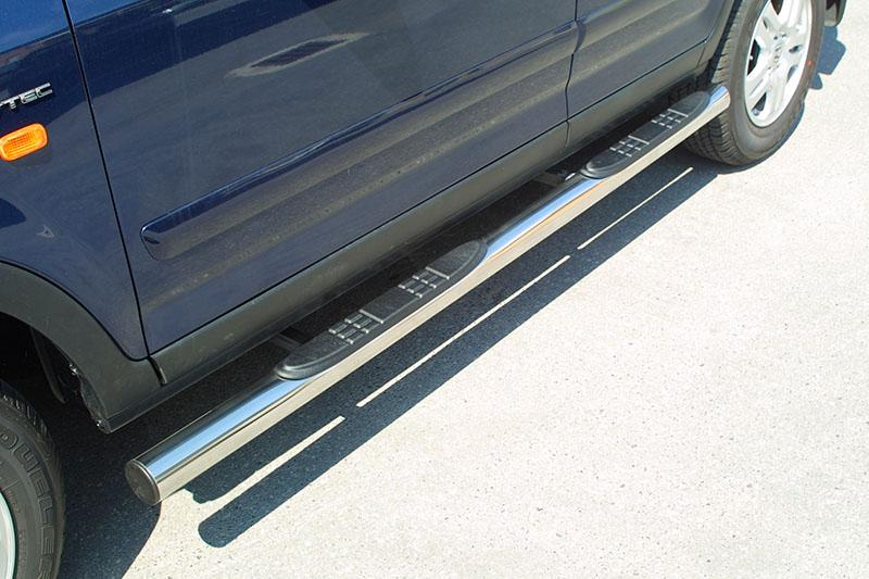 Estribos en tubo inox Ø76mm, con pisantes para Honda CR-V 2002-2005 -