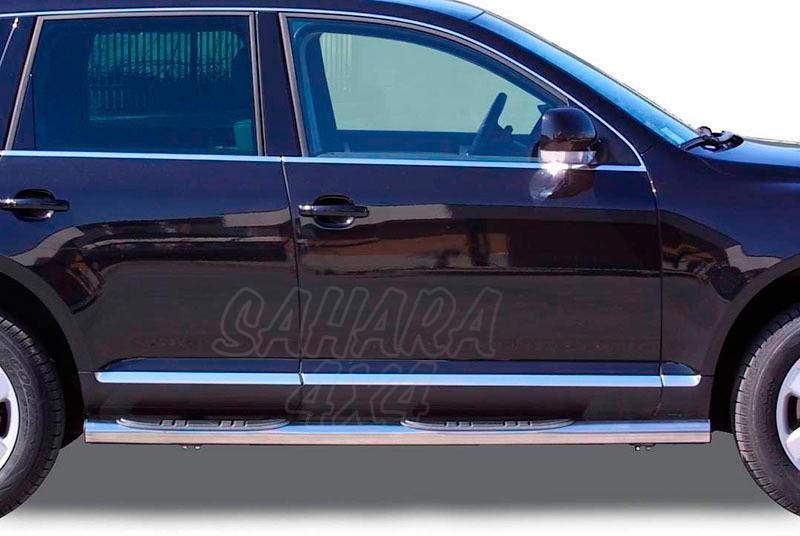 Pareja de estribos en tubo inox Ø76mm, con pisantes para Volkswagen Touareg 2003-2010 -