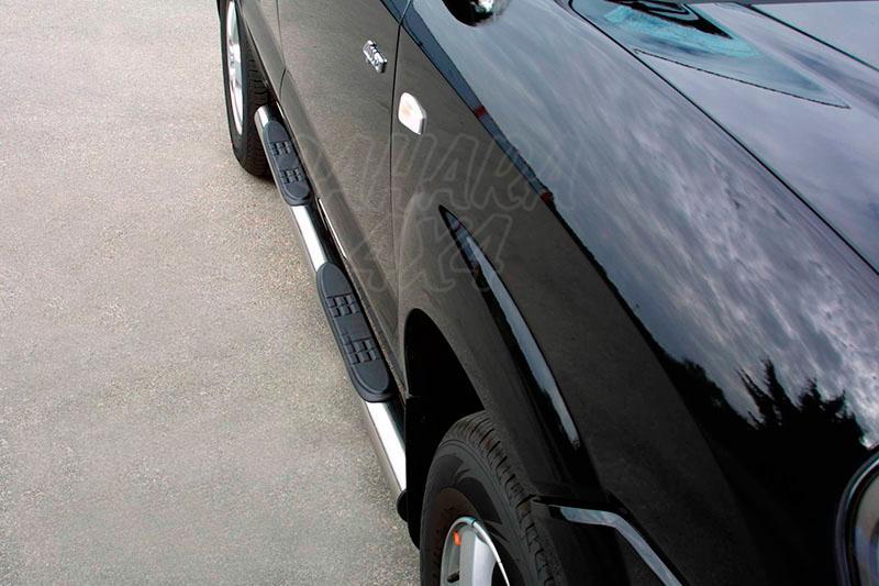 Estribos en tubo inox Ø76mm, con pisantes para Hyundai Tucson 2004-2010 -