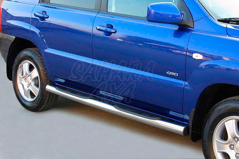 Estribos en tubo inox Ø76mm, con pisantes para Kia Sportage 2004-2008 -